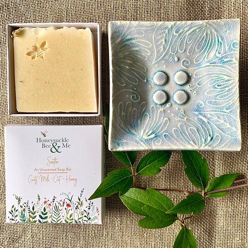 Blue/Green Honeysuckle Soap Dish & Soap