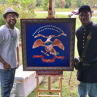 Malcolm creates Civil War Art  that helps us remember African American Infantry.