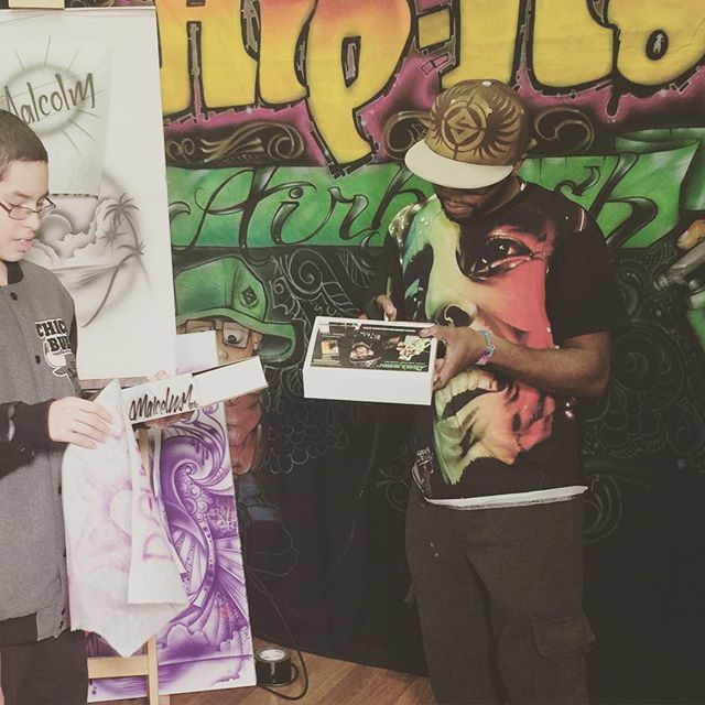 Signing there Assassin Airbrushes for my young students!! The youth are great!! #malcolmmccrae #create #art #class #kids #future #inspiratio