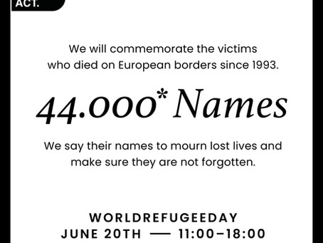 Europe Must Act marks the deaths of 44,000 people at the EU's borders