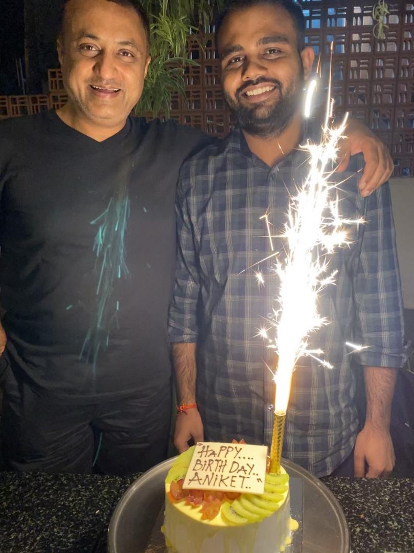 Team celebrating Aniket's Birthday at Tab, Bangalore