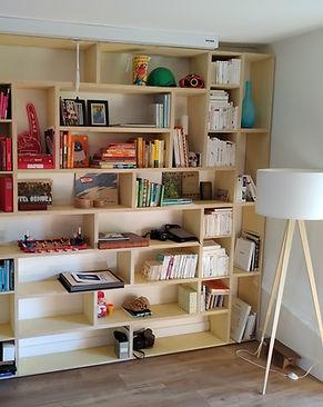 Bibliothèque moderne en contreplaqué de peuplier
