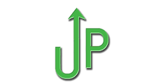 A green UP with a stylized upward-pointing arrow attached.