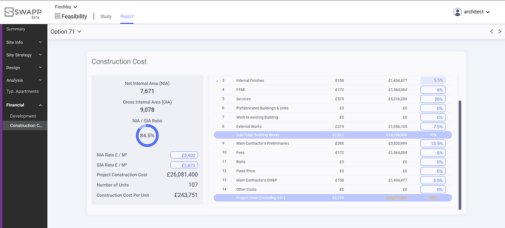 Screenshot of Swapp's new construction cost estimation feature.