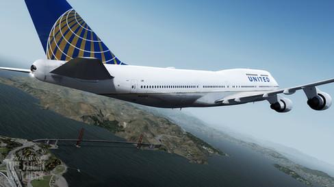 UAL747 Over Flying The Goldengate Bridge