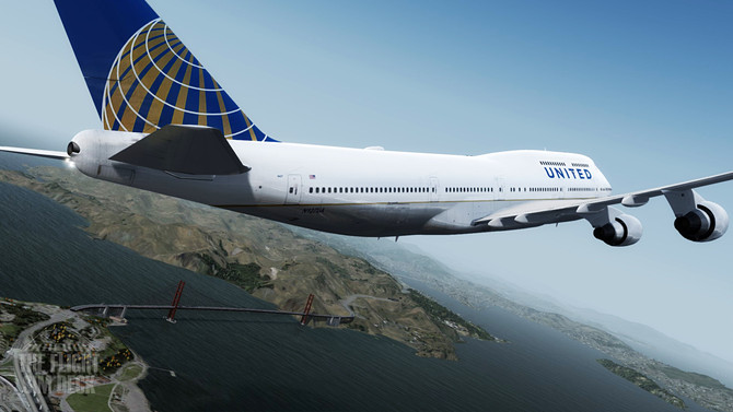 UAL747 Over Flying The Goldengate Bridge