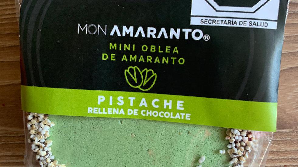 Obleas de amaranto rellenas de chocolate sabor PISTACHE