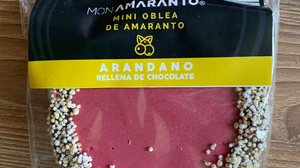 Obleas de amaranto rellenas de chocolate sabor ARÁNDANO