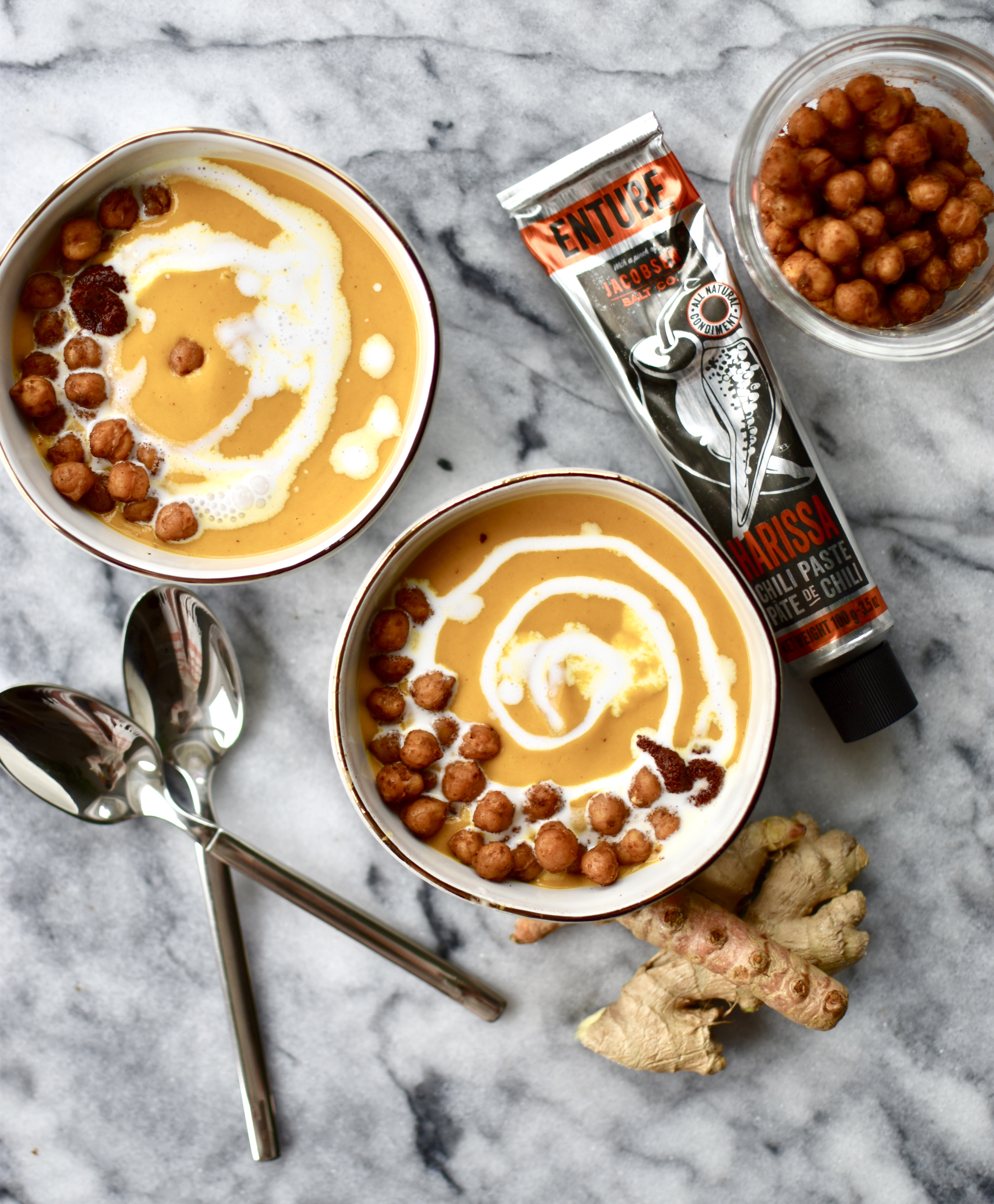 Roasted Kabocha Soup with Harissa and Smoky Chickpeas | Beccalani l