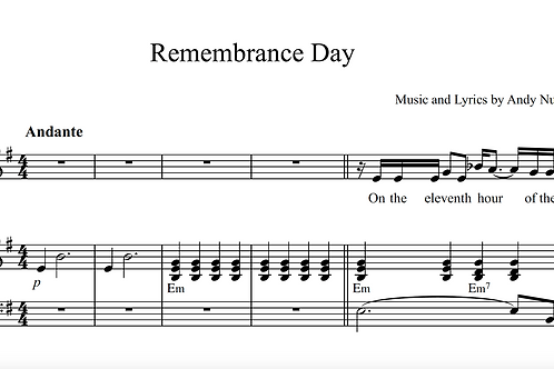 REMEMBRANCE DAY Song Sheet music