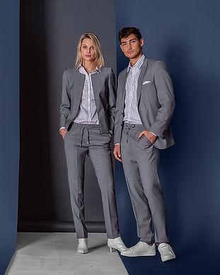 moderne buisnesskleidung corporate wear grau blusen hemden blazer sakkos hosen