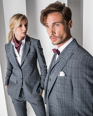 premium buisnesskleidung corporate wear grau kariert damen herren