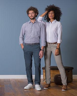 casual buisnesskleidung corporate wear hemden blusen hosen damen herren blau weiß grau
