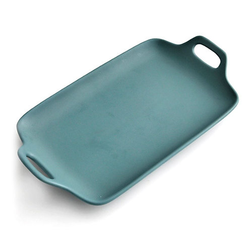 瑞典【GREEGREEN】雙耳長型陶瓷餐盤 13吋(藏綠)