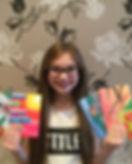 Ella Goldstein with her cards .JPG