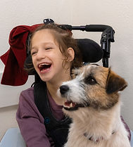 Girl with dog in Pet Therapy