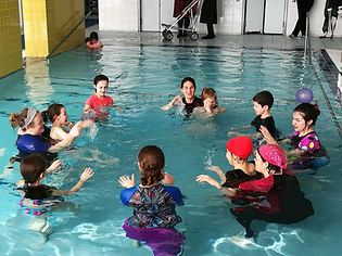 inclusive swim group activity.
