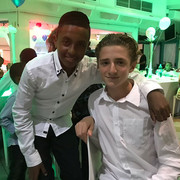 "UK Bar Mitzvah boy Jude Garcia with his FPF ""twin"""