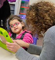 Girl doing vision therapy