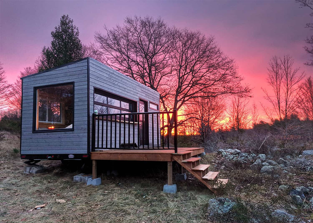cabin in the woods sunset tiny off-grid cabin southern ontario