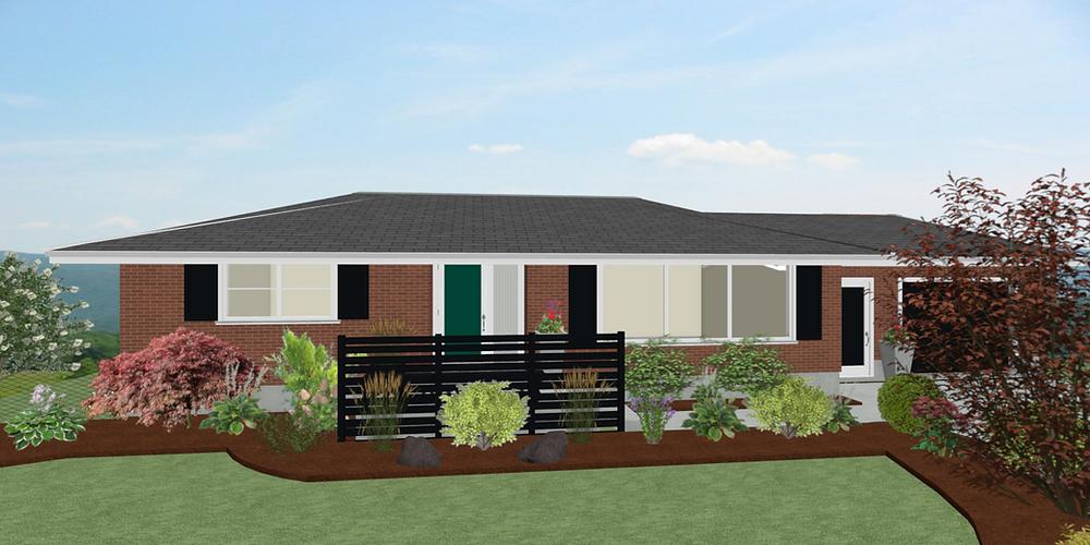 r design studio rendering home designer pro interior design exterior design midcentury modern modern vintage exterior red brick bungalow