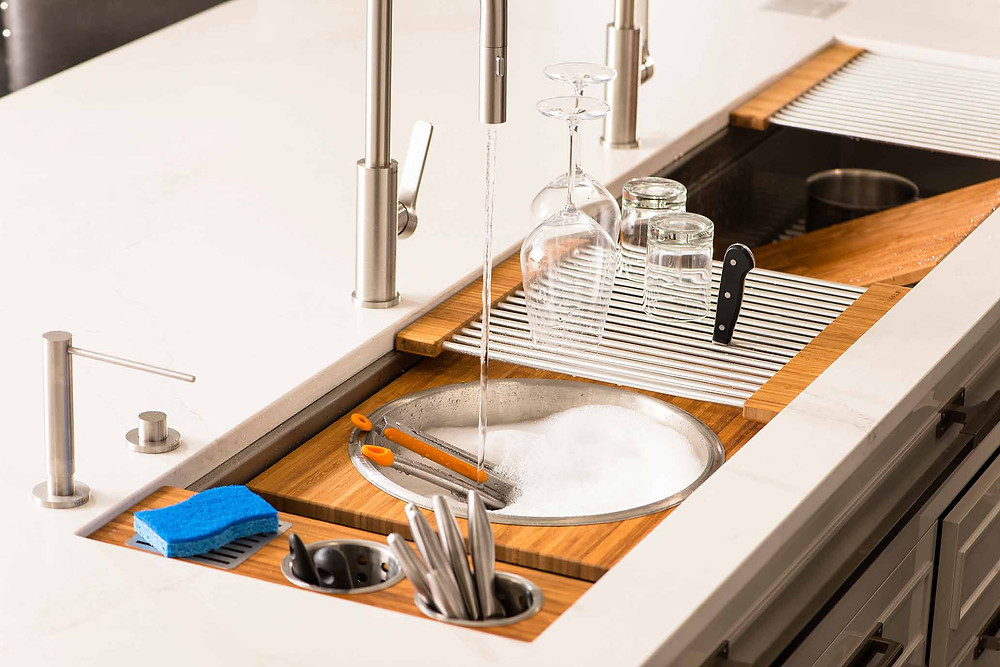 kitchen workstation large sink modern versatile