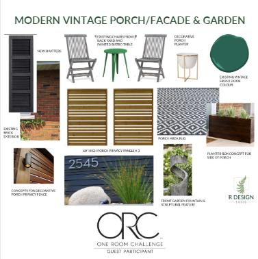 Modern Vintage Front Porch and Garden Plan - One Room Challenge ~ Week 1