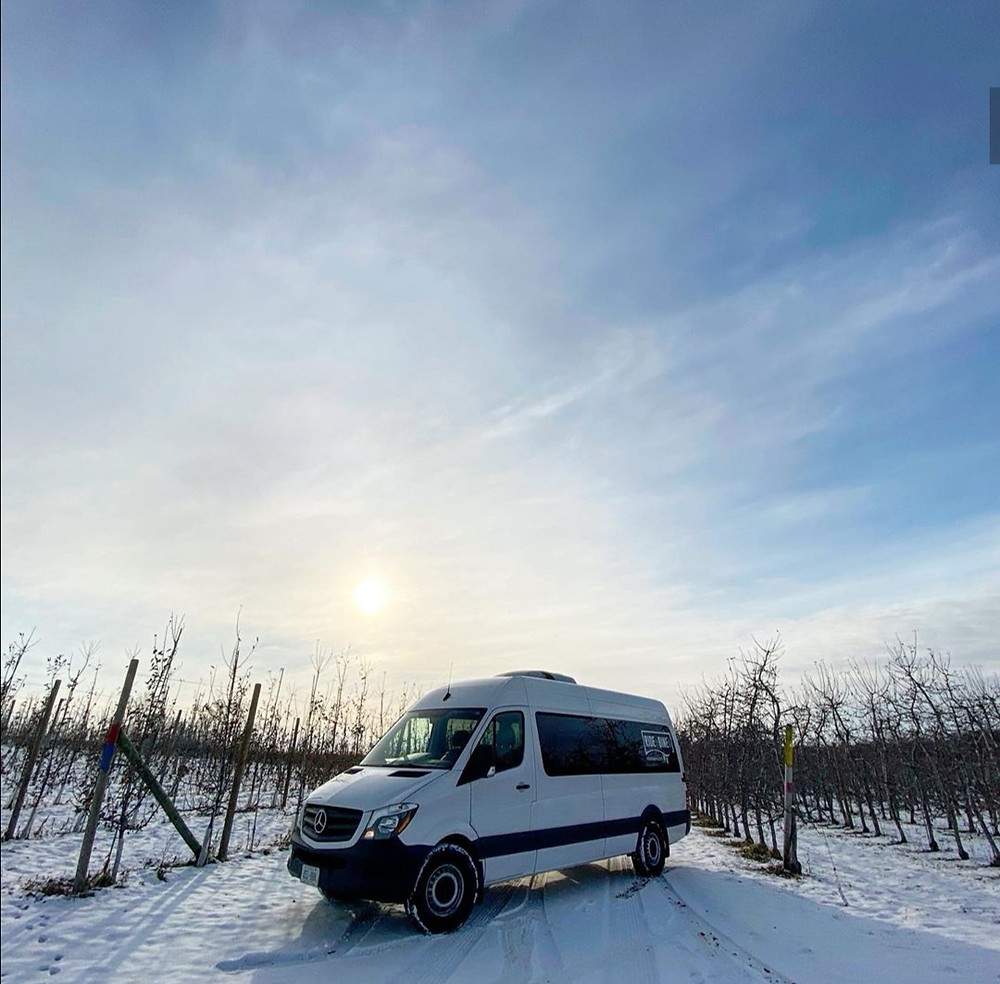 winter winery, wine tour, tour van,