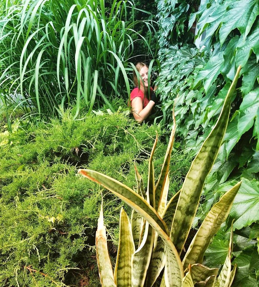 jungalow front garden women in garden plant lover