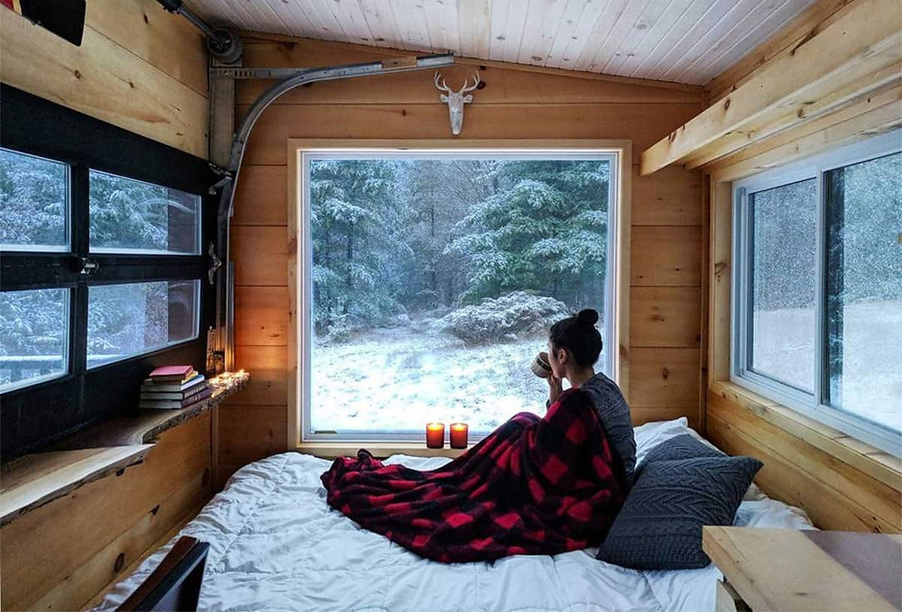 tiny off-grid cabin in the woods