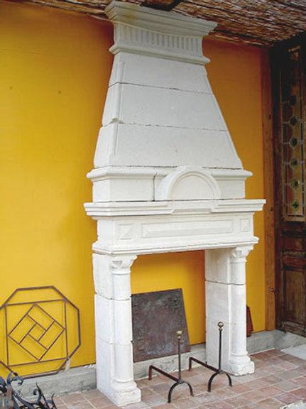 Antique Limestone Fireplace FPHD.1216