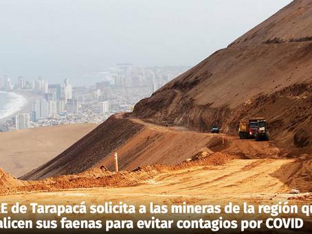 CORE de Tarapacá solicita a las mineras de la región que paralicen sus faenas para evitar contagios