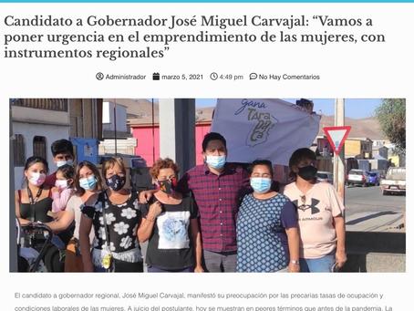 """José Miguel Carvajal: """"Vamos a poner urgencia en el emprendimiento de las mujeres"""