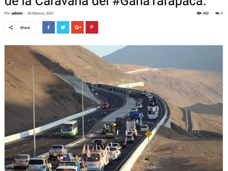 Más de 100 automóviles participaron de la Caravana del #GanaTarapacá.