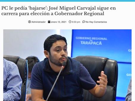 PC le pedía 'bajarse': José Miguel Carvajal sigue en carrera para elección a Gobernador Regional