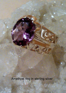 Amethyst ring sterling silver