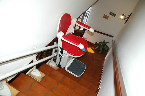 stair lift to aid in downsizing elderly parents for aging in place