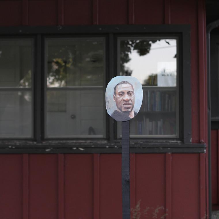 George Floyd portrait on the street