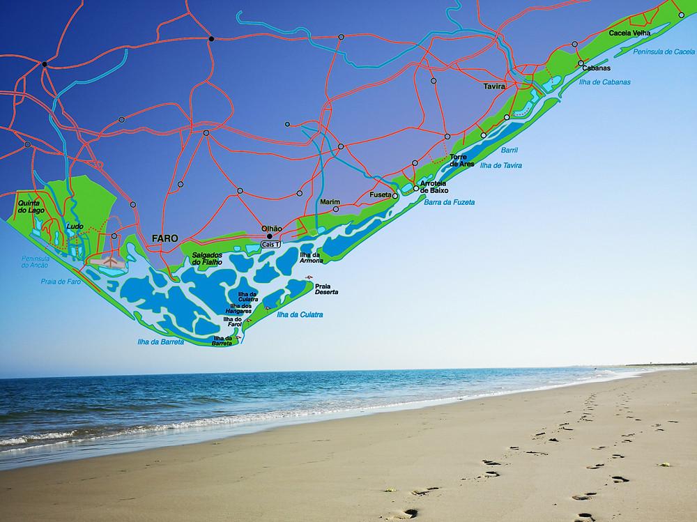 Map Ria Formosa Algarve Portugal