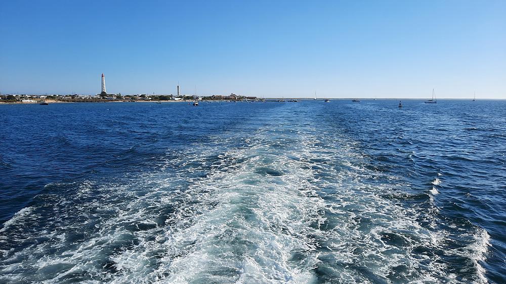 Boat ride to Ilha do Farol beach Algarve Portugal