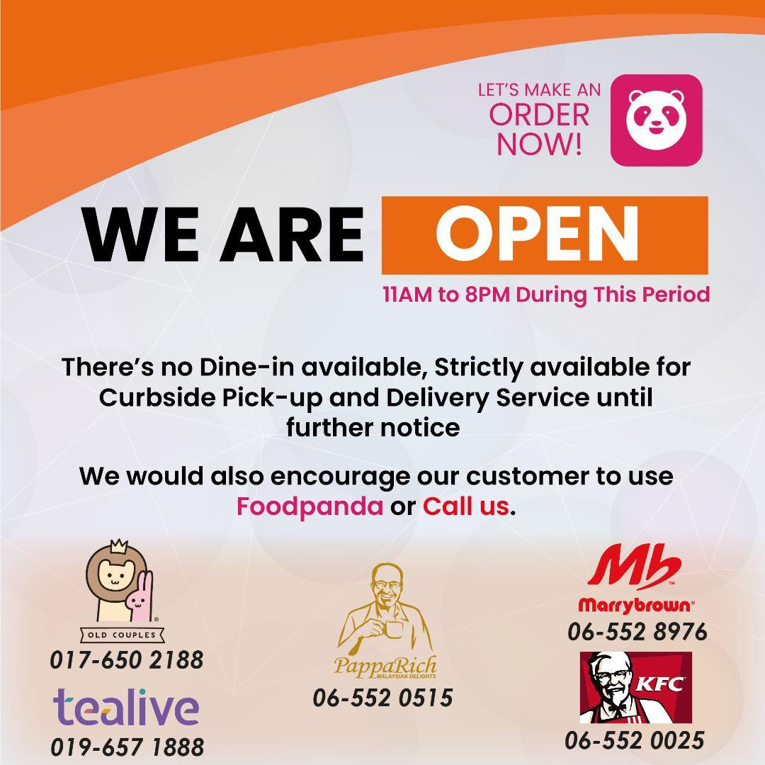 We are open for pick-up and delivery service