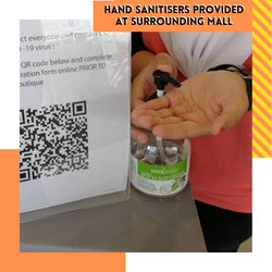 Hand Sanitizers provided at surrounding mall