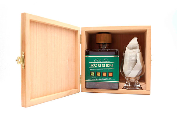 Whisky in Holzbox KIRSCHE inkl. Whiskyglas