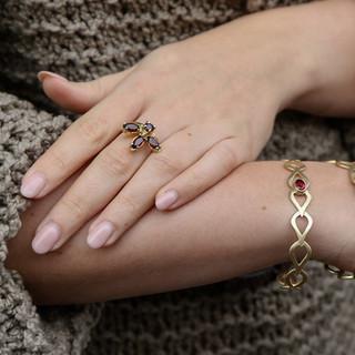 Bracelet Hojas et bague Dalia