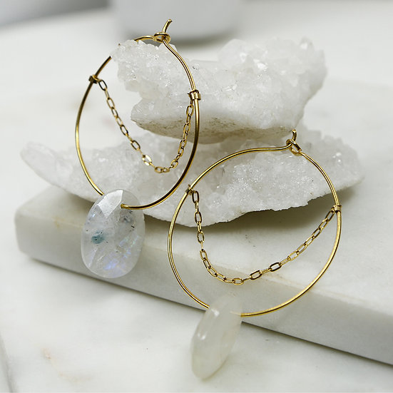 Boucles d'oreilles Marina (Pierre de lune)