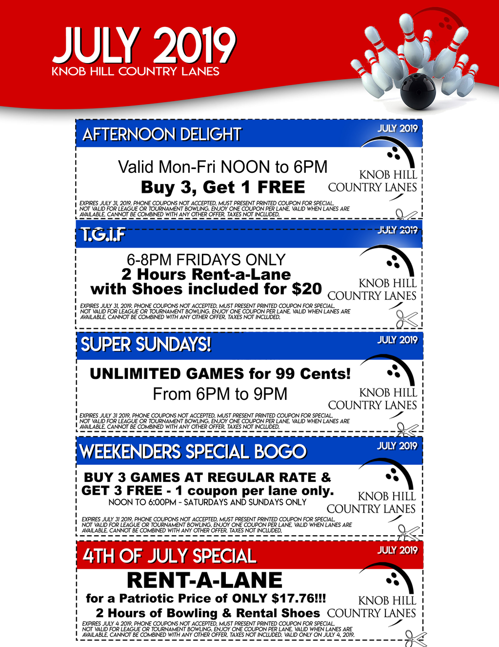 Knob Hill Country Lanes' June Coupons