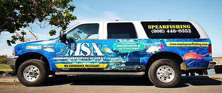 Maui Spearfishing academy truck and shuttle