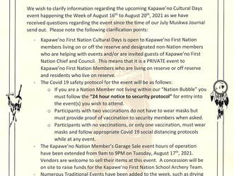 Clarification on Kapawe'no Cultural Days Participation