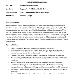 Employment Opportunity - Licensed Practical Nurse