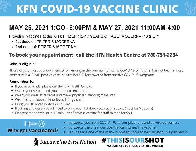KFN COVID-19 VACCINE CLINIC MAY 26-27 (0